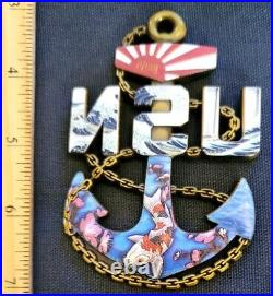 Awesome 3.5 Navy USN Chiefs Pride CPO Challenge Coin Anchor