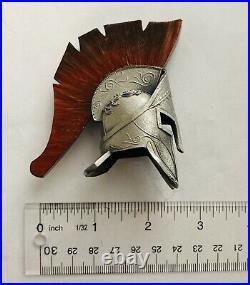 Brand New-US Navy SEAL-DEVGRU-NSW-SOCCENT-Silver&Red Version-Spartan Helmet Coin