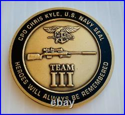 Chris Kyle CK Seal Team 3 Navy Seals 2016 Benefit Sniper NSW CPO Challenge Coin
