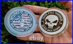 Chris Kyle CK Warrior Bone Frog Navy Seals Punisher Skull CPO NSW Challenge Coin