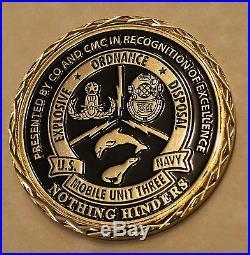 Explosive Ordnance Disposal EOD Unit III Command Navy Challenge Coin / three / 3