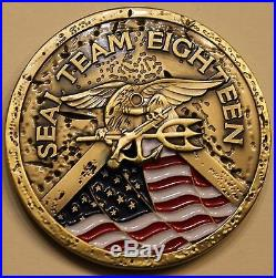 Naval Special Warfare SEAL Team 18 Gold Toned Navy Challenge Coin