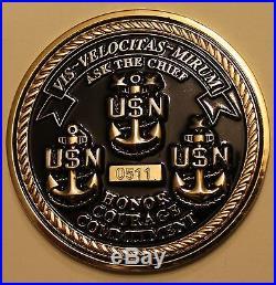 Naval Special Warfare SEAL Team 3 Serial #511 Navy Chiefs Challenge Coin / Three