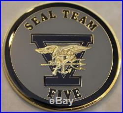Naval Special Warfare SEAL Team 5 Epoxy Version Navy Challenge Coin / Five