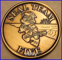 Naval Special Warfare SEAL Team 5 Hard Baked Enamel Navy Challenge Coin / Five