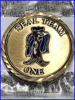 Naval Special Warfare SEAL Team One Blue Cape Sammie Navy Challenge Coin