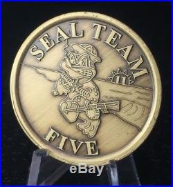 Naval Special Warfare Seal Team 5 Hard Baked Enamel Navy Challenge Coin RARE
