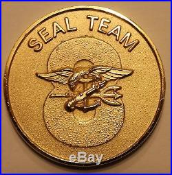 Naval Special Warfare Seal Team 8 Gold Toned Navy Challenge Coin Eight