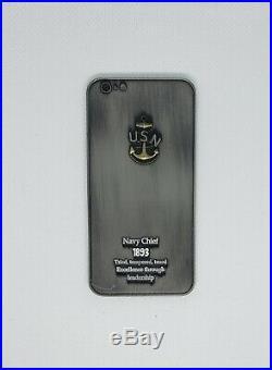 Navy Chief CPO Challenge Coin IPHONE Black non nypd msg RARE BIG