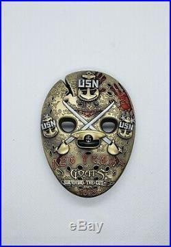 Navy Chief CPO Challenge Coin JASON MASK TEXAS ALAMO non nypd msg MASSIVE