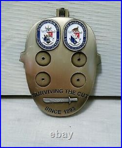Navy Chief CPO Challenge Coin LCSRON2/SUW21 JASON MASK Holds Anchors RARE