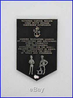 Navy Chief CPO Challenge Coin MCPON Symposium Khaki non nypd msg SERIALIZED