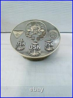 Navy Chief CPO Challenge Coin USS MAKIN ISLAND COVER SUPER RARENO COLOR