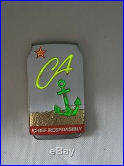 Navy Chief CPO Challenge coin California BEER Can msg nypd GLOWS IN THE DARK