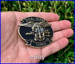 Navy Seals Seal Team 3 NSW Punisher Skull Trident Frog Savage CPO Challenge Coin