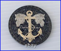 Navy Shellback Equator Neptune Greek God Skull Anchor Ship Challenge Coin Cpo