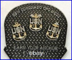 RARE US Navy CPO Mess Challenge Coin NSW Coronado Special OPs SEALs Death Skull