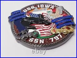 Rare Uss Iowa Ssn 797 Us Navy Submarine Challenge Coin Grey Ghost 3 Inch