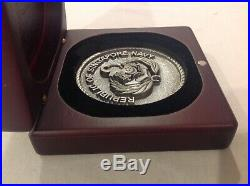 Republic Of Singapore Navy Special Issue 3 Medallion Wood Case Very Rare