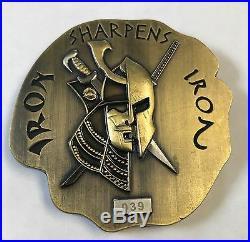 USN Chiefs Bravo Zulu Iron Sharpens Iron #039 Samurai Spartan 3D/3D Antique Gold