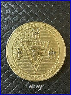 US NAVY Seal Team 7 VII TU3 Foxtrot Platoon NSW Skull Chief Challenge Coin Gold