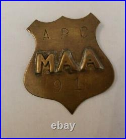 US Navy APO #91 Master At Arms Military Police Badge RARE 30s 40s 100% real