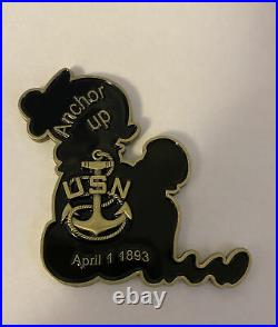 US Navy CPO Chief Mess Sweet Pea Popeye Sailor Cartoon Anchor Up Challenge Coin
