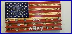 US Navy Challenge Coin Display Rack Holder Rustic American Flag 36 x 19.5
