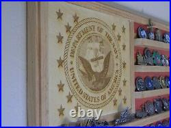 US Navy Solid Hardwood Challenge Coin Display Flag 36x20