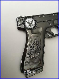 Usn Navy Chief Cpo Glock Gun Pistol Challenge Coin Skull Non Police Nypd Seals