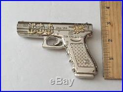 Usn Navy Seals Glock 19 Silver Gun Pistol 9mm Challenge Coin Cpo Chief Non Nypd
